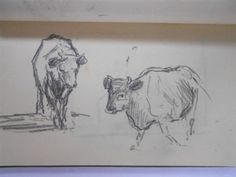 Sketch book containing copious animals and landscape pencil studies, including the sign for the Maiden's Head Inn, Uckfield, Sussex, and studies of Rye Mill and Rye Harbour, along with numerous studies of cows (various works) by Edward Seago