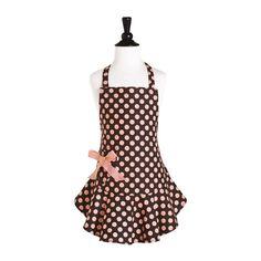 Brown and Pink Polka Dot Child's Josephine Apron