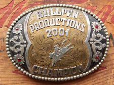 Vintage Frontier Champion Bull Rider 2001 Cowboy Western Trophy Belt Buckle