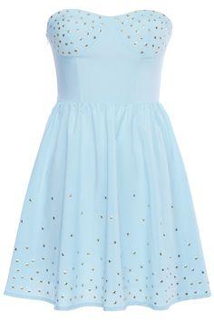 ROMWE | Golden Stars Embellished Blue Bandeau Dress, The Latest Street Fashion
