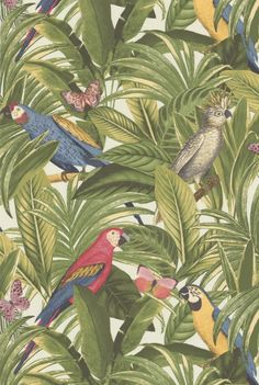 Tapete Zara col.60 | FT97922-1 | Blumen Tapeten in den Farben blau - grün - gelb - rot - rosa | Grundton weiß