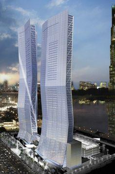 Dubai Mixed-Use Towers, Abu Dhabi, UAE by Fentress Bradburn Architects