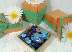 Vintage Variety of Shades of Blue Buttons by DivineOrders on Etsy, $12.00