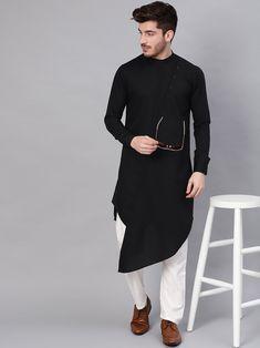 Indian Man's Clothing Shirts Black Cotton Shirt Kurta Solid Top Tunic Traditional Kurta Men's Ethnic Kurta Cultural Men's Wear S-7XL