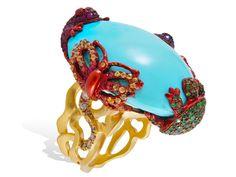 Lydia Courteille, La Prophétie des Guerriers de l'Arc-en-Ciel collection, ring, coloured sapphire, turquoise