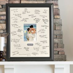 Personalized Wedding Wishes Picture Frame Showcasing a personalized brushed silver plate and wide mat for leaving signatures and well-wishes, this eye-catching picture frame is perfect for recording happy moments and cherished memories.