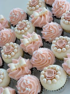Rose, Pearls And Ribbon Cupcakes