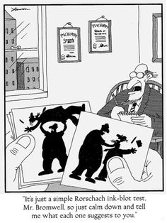 "☤ MD ☞ ☆☆☆ ""The Far Side"" by Gary Larson. Therapy and psychology humor. Ap Psychology Review, Psychology Jokes, Cartoon Jokes, Funny Cartoons, Funny Memes, Hilarious, Funny Quotes, Memes Humor, Gary Larson Cartoons"