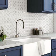 Geometric Pearl White Thassos Shell Tile Black And White Backsplash, White Kitchen Backsplash, Black And White Tiles, Backsplash Tile, Modern Kitchen Tiles, Backsplash Ideas, Tile Ideas, Wall Tile, White Farmhouse Kitchens