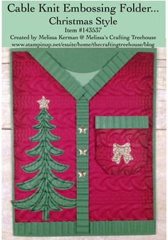 DIY, handmade, Christmas, sweater card using the Cable Knit embossing folder, Santa's Sleigh Stamp Set and coordinating Framelits. Project by Melissa Kerman, Stampin' Up Demonstrator.