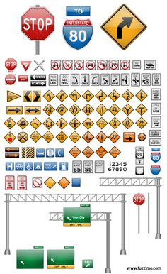 Vector Road Signs | #construction theme birthday #construction truck birthday party