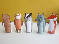 Forest Hand-Drawn Paper Finger Puppets Pattern PDF by Curmilla . Paper Puppets, Hand Puppets, Finger Puppets, Paper Toys, Forest Creatures, Woodland Creatures, Woodland Animals, Forest Animals, Contemporary Kids Toys
