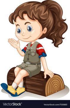 Little girl sitting on log Royalty Free Vector Image Kids Cartoon Characters, Cartoon Kids, Cartoon Chicken, Disney Princess Fashion, School Murals, Kids Background, School Painting, School Clipart, Lovely Girl Image