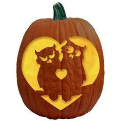 Two Cute Owls in a Tree - FREE Pumpkin Carving Pattern, Stencil, Template. 1 of over 700 FREE Pumpkin Carving Patterns and Stencils by The Pumpkin Lady®!