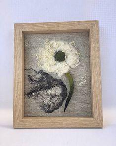 PassionFelt / Netradičná plstená púpava v ráme, Plstený obraz Shibori, Making Out, Merino Wool, Felt, Frame, Handmade, Home Decor, Picture Frame, Felting
