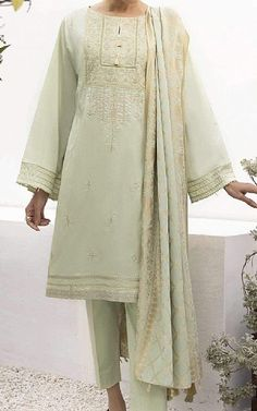 Light Green Lawn Suit | Buy Sapphire Pakistani Dresses and Clothing online in USA, UK Pakistani Dresses Online Shopping, Suits Online Shopping, Fashion Pants, Fashion Dresses, Pakistani Lawn Suits, Add Sleeves, Eid Dresses, Lawn Fabric, Green Lawn