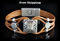 SALE Celtic Leather Bracelet  - Celtic Shield - Personalized - Silver -Magnetic clasp. €29,00, via Etsy.