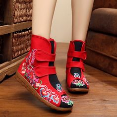 US Size 5-10 Women Ankle Short Boots Casual Outdoor Embroidery Floral Flat Boots