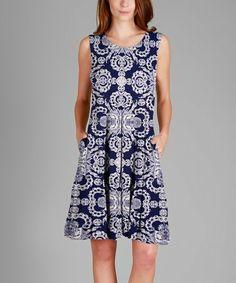 This Blue & White Arabesque Pocket Sleeveless Dress is perfect! #zulilyfinds