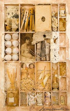A Sampler of Summer Assemblage by Lynne Perrella Altered Boxes, Altered Art, Mixed Media Collage, Collage Art, Arte Yin Yang, Collages, Art Postal, Art Projects, Projects To Try