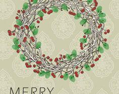 christmas thumbprint art | Fingerprint Christmas Wreath