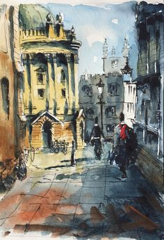 Paul Mitchell, Urban Sketchers, Cubism, Sketching, Art Quotes, Watercolour, Oxford, Paintings, Watercolors