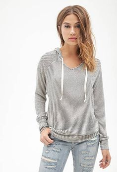 Slouchy Striped Knit Hoodie | FOREVER21 - 2000099649