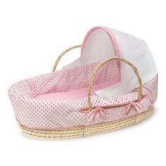 Fabric Canopy Natural Moses Basket in Pink Polka Dot