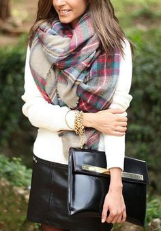 Make the chill disappear with the help of this tartan plaid shawl. This non-stretchable wrap comes in warm tones to help create a warm, homely look to your outfit. Get this here. | Lookbook Store Office Style