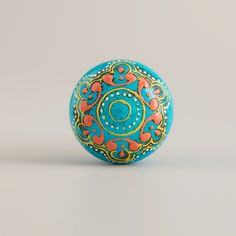 Turquoise Painted Wooden Knobs, Set of 2   World Market