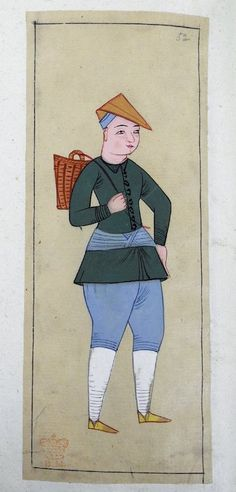 Torba oğlanı. A young Janissary in training, carrying a basket slung over his shoulder, as he goes to market. Wearing a brown cap with the end turned down, green tunic, pale blue knee breeches, white stockings, yellow shoes, light blue kuşak.