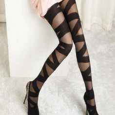 Women Ripped Cut-out Bandage Ultra-thin Tights Elastic Personality Pantyhose #Ultras #Pantyhose