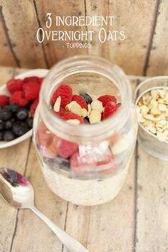 3 ingredient overnight oats, add any toppings you'd like after. My favorite breakfast!