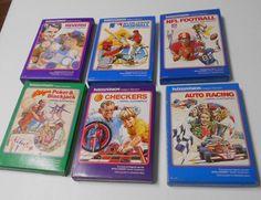 Vintage Intellivision Games Lot 6 Football Baseball Poker Reversi Checkers  6721