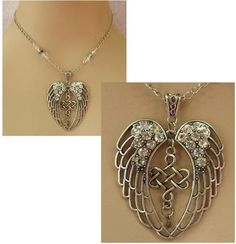 Silver Celtic Knot Angel Wings Pendant Necklace