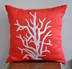 White Reef Embroidered Decorative  Pillow Cover  by KainKain, $22.00--what a beautiful way to splash some color. Guest Room