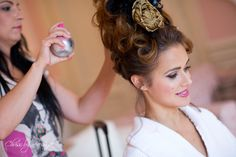 Our stunning Venice Headdress getting ready for action... silk rose, lace and feathers