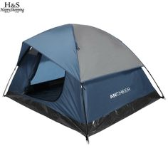 ANCHEER Brand New Camping Tent dual zipper 2-3 Person Camping Hiking Tent Contrast Color Dome Tent Dual Layer with carrying bag #Affiliate