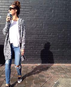 Sunday style inspiration #theyallhateus ripped jeans, boyfriend cardi, white tee