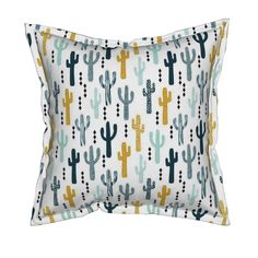 Serama Throw Pillow featuring cactus mustard mint navy kids tri minimal white background trendy design for ss16 tropical trendy southwest kids nursery clothing baby decor by charlottewinter | Roostery Home Decor