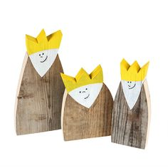 Advent ist, wenn drei smarte Könige das Weihnachtswunder in Ihren eigenen vier Wänden ankündigen. #Könige aus #Holz #Recycling #Upcycling #Deko