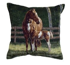 Pretty Tapestry Horse Pillow