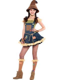Teen Girls' Sweet Scarecrow Costume with Floppy Hat - Halloween City