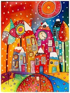 il neige dans sur mes couleurs : Peintures par marias-crafts