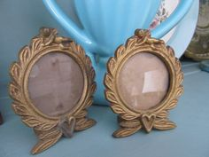 PAIR of 1920's FRENCH Cast Iron FRAMES Vintage Valentine's Gift Romantic Engagement Paris Apartment Gold Gilded Decor Italian Florentine Art on Etsy, $39.00