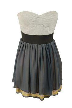 That Special Dress - LA ROK - Grey strapless bodice mini dress