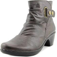 d3be7f94c8caf Easy Street Quality Women Round Toe Leather Brown Bootie Brown Booties