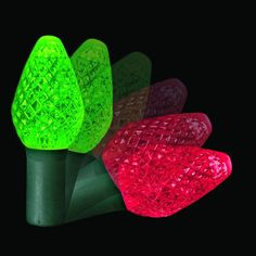 Colorchanging C7 Colorwave LED String Lights, Red to Green, Green Wire, 50 Bulbs