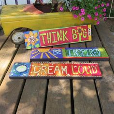 Vinyl Art Planks create a whimsical path in the garden with vivid hues and soulful words that are fade-resistant. Unique garden decor looks like wood but is crafted of PVC/Vinyl. Unique Garden Decor, Unique Gardens, Beautiful Gardens, Garden Poles, Garden Stakes, Painted Pavers, Painted Bricks, Peace Pole, Aluminum Can Crafts