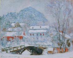 Monet in Norway--Sandviken Village in the Snow (1895)